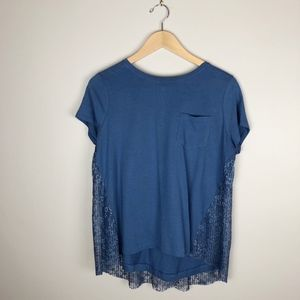 Simply Vera Vera Wang Lace Back Tee in Dusty Blue
